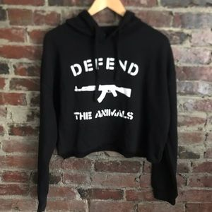 Excellent quality material- never worn crop hoodie